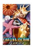 Captiva Island, Florida - Shell Montage Prints by  Lantern Press