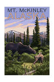 Mt. McKinley, Alaska - Moose and Calf Print by  Lantern Press