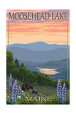 Moosehead Lake, Maine - Bears and Spring Flowers Print by  Lantern Press
