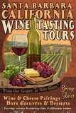 Santa Barbara, California - Wine Tasting Vintage Sign Print by  Lantern Press