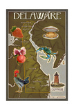 Delaware Map and Icons Posters by  Lantern Press
