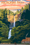 Multnomah Falls, Oregon - Sunset Prints by  Lantern Press
