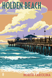 Holden Beach, North Carolina - Fishing Pier Poster by  Lantern Press
