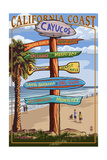 Cayucos, California - Destination Sign Prints by  Lantern Press