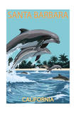 Santa Barbara, California - Dolphins Jumping Prints by  Lantern Press