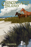 Chincoteague Island, Virginia - Horses and Dunes Print by  Lantern Press