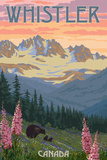 Bear Family and Spring Flowers - Whistler, Canada Posters