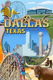 Dallas, Texas - Montage Scenes Art by  Lantern Press