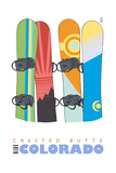 Crested Butte, Colorado - Snowboards in Snow Prints by  Lantern Press
