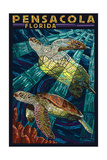 Pensacola, Florida - Sea Turtle Paper Mosaic Kunst van  Lantern Press