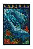 Sanibel, Florida - Dolphins Paper Mosaic Posters by  Lantern Press