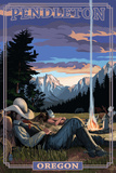 Cowboy Camping Night Scene - Pendleton, Oregon Prints by  Lantern Press