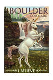 Boulder, Colorado - Unicorn Scene Poster by  Lantern Press