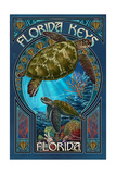Florida Keys - Sea Turtle Art Nouveau Posters van  Lantern Press