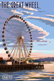 The Great Wheel at Sunset - Seattle, Washington Art by  Lantern Press