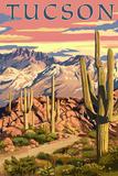 Tucson, Arizona Sunset Desert Scene Reprodukcje autor Lantern Press