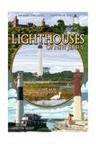 New Jersey - Lighthouse Montage Scenes Art by  Lantern Press