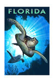 Florida - Sea Turtle Diving Poster van  Lantern Press