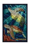 Bermuda - Sea Turtles Mosaic Plakater af  Lantern Press