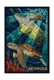 Bermuda - Sea Turtles Mosaic Posters van  Lantern Press