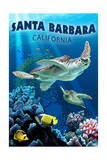 Santa Barbara, California - Sea Turtle Swimming Poster van  Lantern Press