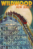 Wildwood, New Jersey - Roller Coaster and Moon Poster by  Lantern Press