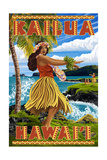 Hawaii Hula Girl on Coast - Kailua, Hawaii Art by  Lantern Press