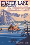Crater Lake National Park, Oregon - Shoreline and Sunset Plakaty autor Lantern Press