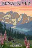 Kenai River, Alaska - Bear Family and Flowers Posters by  Lantern Press