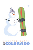 Crested Butte, Colorado - Snowman with Snowboard Poster