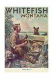 Whitefish, Montana - Man Cooking Breakfast at Camp - Poster Prints