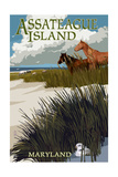 Assateague Island, Maryland - Horses and Dunes Posters by  Lantern Press