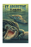 St. Augustine, Florida - Alligator Scene Prints by  Lantern Press