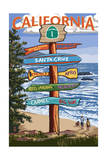 Santa Cruz, California - Signpost Destinations Print by  Lantern Press