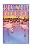 Key West, Florida - Flamingos Prints by  Lantern Press