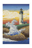 Lighthouse - Woodblock Print Poster by  Lantern Press