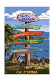 Santa Barbara, California - Destination Sign Art by  Lantern Press