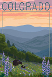 Colorado - Bear and Spring Flowers Poster