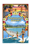 Montage - Honolulu, Hawaii Print by  Lantern Press
