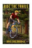 Breckenridge, Colorado - Mountain Biker in Trees Poster van  Lantern Press