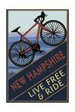 New Hampshire - Live Free and Ride - Mountain Bike Print van  Lantern Press