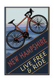 New Hampshire - Live Free and Ride - Mountain Bike Print by  Lantern Press