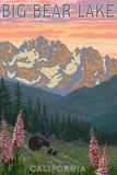 Big Bear Lake, California - Bears and Spring Flowers Print
