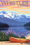 Lake Scene and Canoe - Whistler, Canada Posters by  Lantern Press
