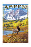 Aspen, Colorado - Mountains and Elk Posters by  Lantern Press