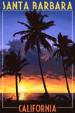 Santa Barbara, California - Palms and Sunset Posters
