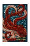 Santa Cruz, California - Octopus Mosaic Plakater af  Lantern Press