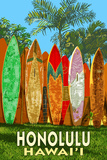 Surf Board Fence - Honolulu, Hawaii Posters by  Lantern Press