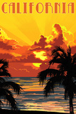 California - Sunset Prints by  Lantern Press