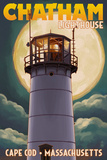 Cape Cod, Massachusetts - Chatham Light and Full Moon Posters by  Lantern Press